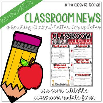 Classroom Newsletter - Bowling