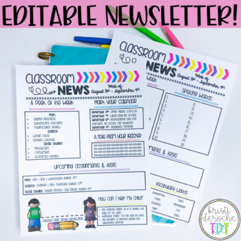 Classroom Newsletter- Bright Arrows- EDITABLE