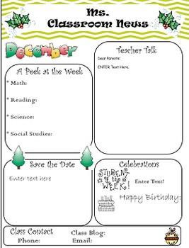 Classroom Newsletter- Chevron (Editable)