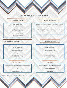 Classroom Newsletter - Chevron Pattern - Editable