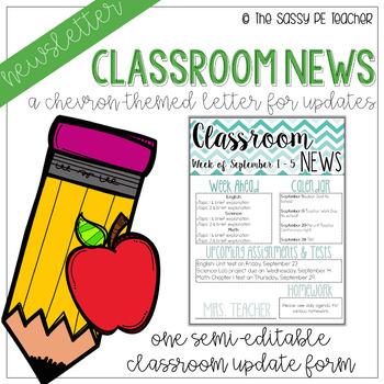 Classroom Newsletter - Chevron Theme