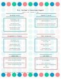 Classroom Newsletter - Dot / Circle pattern - Editable