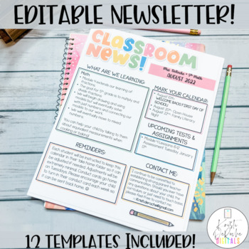 Classroom Newsletter- EDITABLE- Bright Stripes