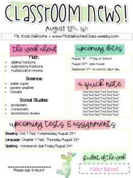 Classroom Newsletter - EDITABLE - Cactus Theme