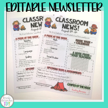 Classroom Newsletter- EDITABLE - Camping