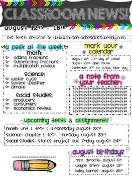 Classroom Newsletter- EDITABLE- Chalkboard