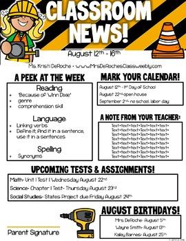 Classroom Newsletter- EDITABLE- Construction