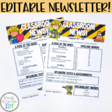 Classroom Newsletter Template EDITABLE Construction Theme
