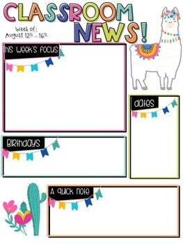 Classroom Newsletter- EDITABLE- Llama and Cactus Theme