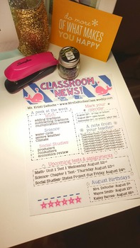 Classroom Newsletter- EDITABLE- Nautical (Navy, White, and Pink)