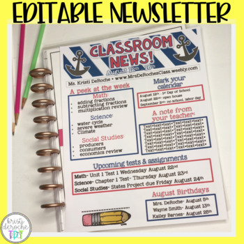 Classroom Newsletter- EDITABLE- Nautical (Red,Blue, and White)
