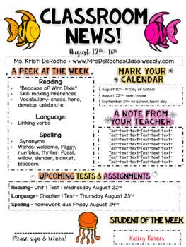 Classroom Newsletter- EDITABLE - Ocean Theme