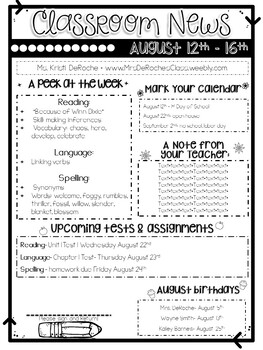 Classroom Newsletter- EDITABLE- Printer Friendly