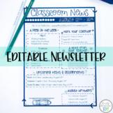 Classroom Newsletter Template- EDITABLE- Printer Friendly