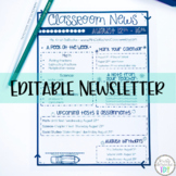 Classroom Newsletter Template- EDITABLE- Printer Friendly