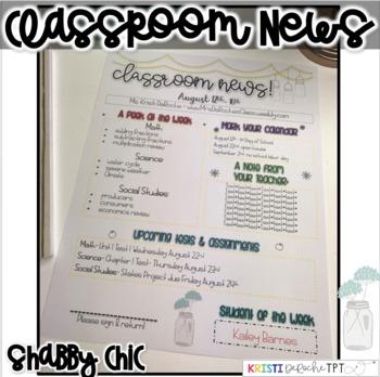 Classroom Newsletter - EDITABLE - Shabby Chic