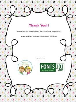 Classroom Newsletter *Editable*