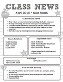 Classroom Newsletter Black and White Editable MS WORD