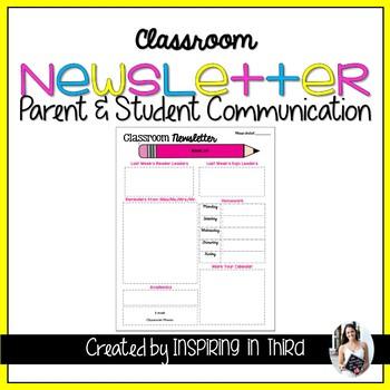 Classroom Newsletter Editable Outline