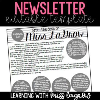 Classroom Newsletter Editable Template for Families and Parents
