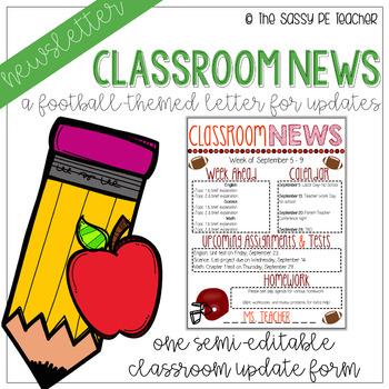 Classroom Newsletter - Football Theme #1