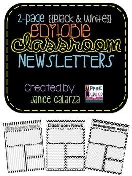 Classroom Newsletter Formats - EDITABLE