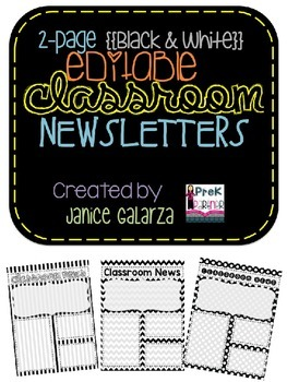 Classroom Newsletter Formats - EDITABLE