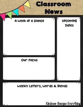 Classroom Newsletter Freebie