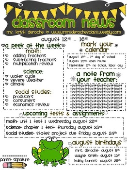 Classroom Newsletter- Frog Themed- EDITABLE