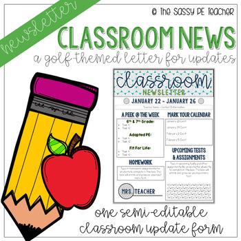 Classroom Newsletter - Golf Theme