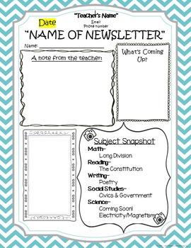 Classroom Newsletter & Homework Template