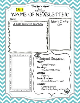 Classroom Newsletter & Homework Template