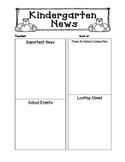 Classroom Newsletter - Kindergarten