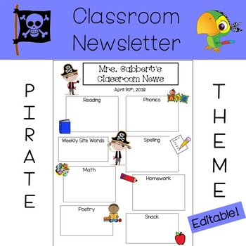 Classroom Newsletter - Pirate Theme