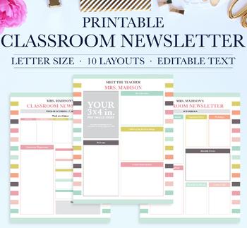 Classroom Newsletter, School Newsletter Template, Classroom Printables