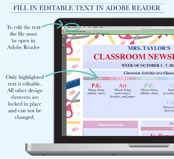 Classroom Newsletter, School Newsletter Template, Classroom Printables