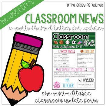 Classroom Newsletter - Sports Theme