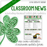 Classroom Newsletter - St. Patrick's Day