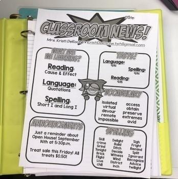 Classroom Newsletter- Super Hero Themed- EDITABLE