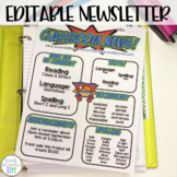 Classroom Newsletter- Super Hero Themed- EDITABLE