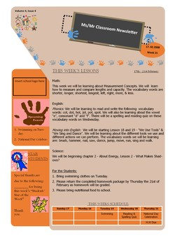 Classroom Newsletter Tab theme style template