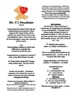 Classroom Newsletter Template - Classroom Management and Parental Communication