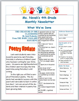 Classroom Newsletter Template - 4 pages