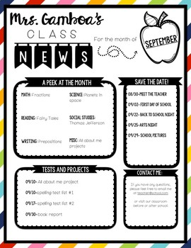 classroom newsletter template black and white by the land of littles