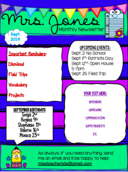 Classroom Newsletter Template EDITABLE Free