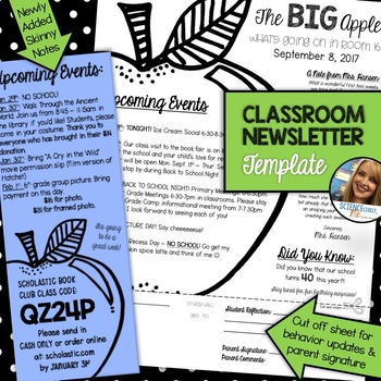 Classroom Newsletter Template - EDITABLE - Apple Theme