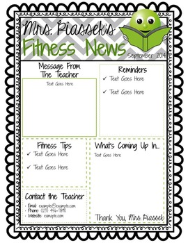 Classroom Newsletter Template EDITABLE FREEBIE by Phys Ed is a Hoot
