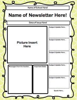 Classroom Newsletter Template Editable