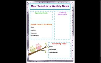 Classroom Newsletter Template (Editable)