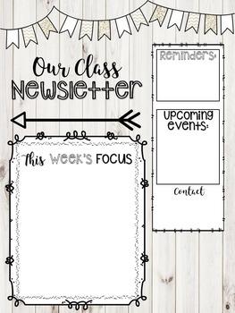 Classroom Newsletter Template- Grades K-12